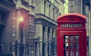 город,  фонарь,  телефонная будка,  свет,  дом