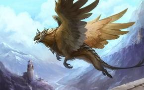 арт,  грифон,  девушка,  крылья,  замок,  полет,  руины,  башня,  горы