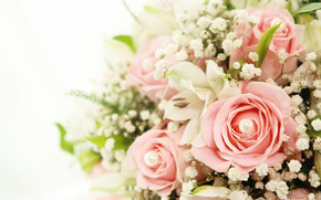 Flowers, bouquet, Rose, Lily, pink roses, White lilies, beads