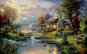 picture, Thomas Kinkade, painting, paradise, Nature, river, boat, home, hunters, hunting, Birds, deer, Mountains, forest, Trees, Christmas trees
