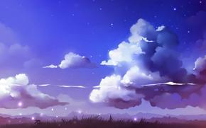 пейзаж,  облака,  трава,  неведомо существо,  небо,  звезды,  арт,  рисунок,  художник