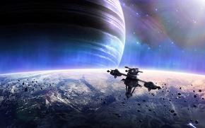 planet, radiance, Meteorites, ship