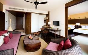 interno, design, camera, situazione, mobilia, divano, sedia, rosso, Cuscino, tavolo