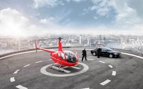 elicottero, Audi, grattacielo, Elicottero, area, citt, fiume, paesaggio, Photoshop, uomo d'affari, carta da parati
