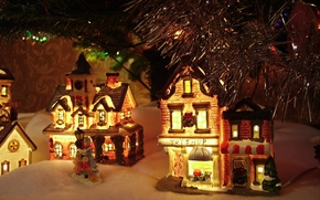 Toys, houses, under the tree, decoration, snow, snowball, garland, lights