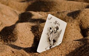 Sand, Karte, Joker, Skelett, Flgel, Makro
