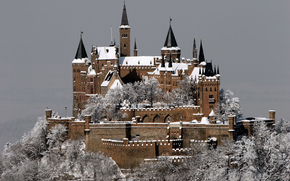 castle, Hohenzollern, Castle and Fortress, mountain, Germany, city, Stuttgart, Winter, snow, frost