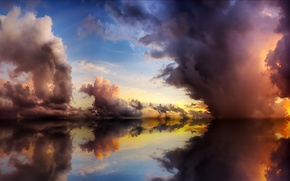 sea, clouds, reflection