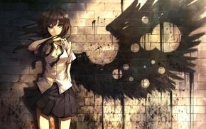 арт, девушка, крыло, стена, форма, тень, дырки, кирпичи