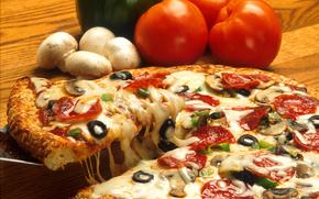 еда, пища, вкусно, пицца, оливки, маслины, сыр, грибы, помидоры