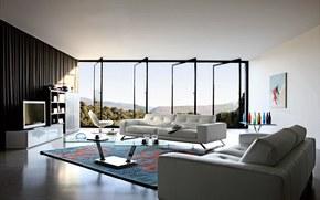 interno, design, situazione, mobilia, letto, TV, tappeto, tavolo, aprire, finestre, porte, Vasi