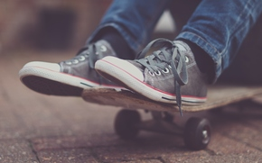 sneakers, skateboard, asphalt