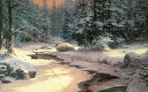 paisagem, inverno, pequeno rio, neve, comeu