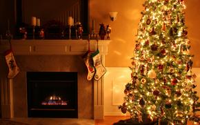 camera, crepuscolo, sconce, camino, Natale bootee, Candele, vacanza, Capodanno, Natale, Giocattoli, Multicolore, favoloso, abete, semaforo, ghirlanda