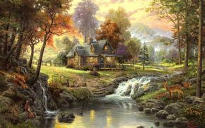 landscape, autumn, cottage in the woods, creek