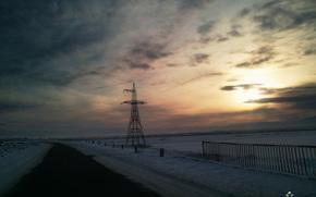 sera, inviare, tramonto, neve, strada, cielo