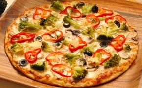 еди, пища, вкусно, сытно, пицца, зелень, болгарский перец, маслины, оливки