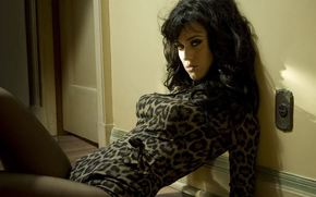 Katy Perry, singer, room, on the floor, pose, door, socket, view