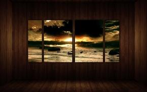 Окно, морской, пейзаж