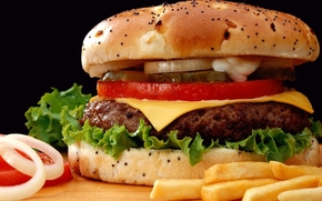Big Mac, hamburger, sandwich, Burger, roll, cutlet, cheese, onion, tomato, cucumber, slices, French fries, food