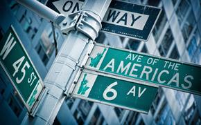 города, сша обои, америка обои, штаты, соединенные штаты америки, дома, улица, улицы, развилка, знаки, стрелка, стрелки, указатель, указатели, авеню, широкоформатные обои, широкоэкранные обои, статуя свободы, нью-йорк обои