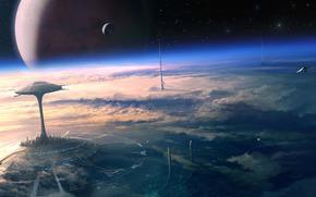 арт, космос, звёзды, город будущего, будущее, планета, спутник, орбита, космические корабли, облака