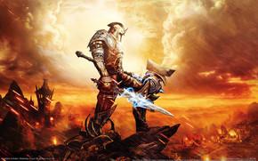 Warrior, fire, weapon, sword, rocks, magic, armor, hammer