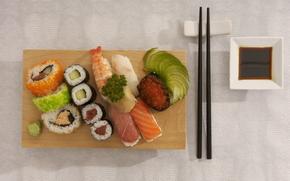 еда, пища, суши, роллы, морепродукты, красная икра, вкусно, японская кухня, палочки, соевый соус