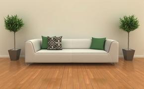 wntrze, konstrukcja, biay, sofa, zielony, Poduszka, rolina, pokj