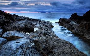 облака, острова, мадейра, португалия, скалы, море, небо, восход солнца, вода