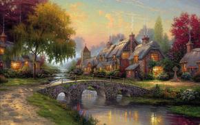 Thomas Kinkade, immagine, estate, ponte, fiume, case, pittura