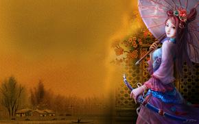 девушка, зонтик, украшения, озеро, деревня, птицы, природа