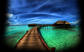 landscape, ocean, bridge, paradise, sky