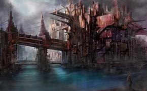 Art, fantasy, man, city