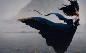 女孩, 湖, 雾, 睡莲, 花卉, 山, 风, 长裙, 装饰物, 幻想风格, 鹭