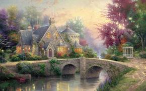 Thomas Kinkade, pintura, verano, bienes, casa, casa de campo, cenador, ro, puente, luces