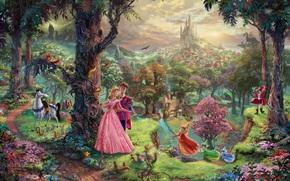 Thomas Kinkade, pittura, Bella addormentata nel bosco, storia, cartone animato, Walt Disney, Personaggi, castello, casa, foresta, parco, alberi, drago
