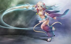 арт, девочка, меч, оружие, украшения, магия