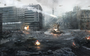 city, Berlin, Germany, war, helicopters, Tanks, World War III