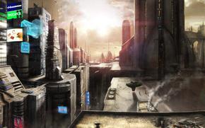 Фантастика, город, небо, закат, солнце, вывеска, корабль, люди, человек, дом, крыша