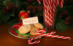 новый год, праздник, еда, сладкое, печенье, новогодние, игрушки, шишки, елка, ветка, тарелка, Новый год