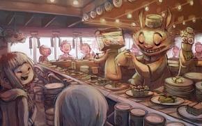 арт, аниме, суши, бар, персонажи