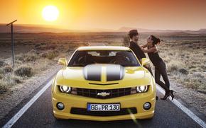 雪佛兰, 家伙, 女孩, 日落, 汽车, 机械, 汽车