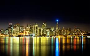 San Francisco, California, San Francisco, California, citt di notte, edificio, semaforo, Grattacieli, acqua