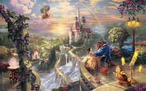 Thomas Kinkade, Beauty and the Beast, Belle, prince, Disney, Art, love, pair, balcony, Lumiere, Koksvort, castle, bridge, waterfall, sunset, rainbow, Flowers, lantern, Trees, Candles, candelabrum, watch, Magic Rose