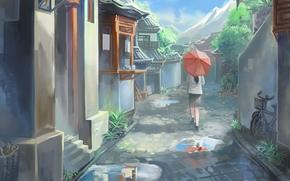 арт, рисунок, город, дома, лето, зонт, зонтик, девушка, лужи, горы, велосипед
