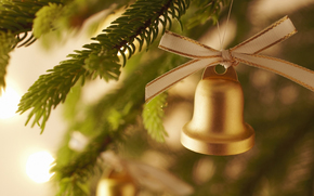 New Year, holiday, New Wallpaper, Christmas decorations, bell, New Year