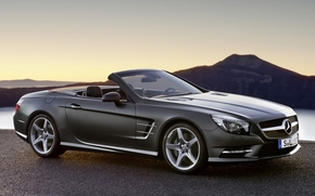 Mercedes, AMG, Sports pekidzh, front, Cabriolet, gray, Mountains, mercedes