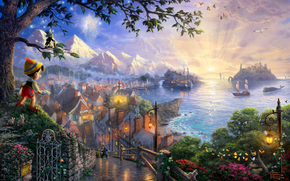 Thomas Kinkade, Pinocchio, Fairy with blue hair, cricket, Disney, Art, castle, bridge, houses, sea, Ships, Mountains, Butterflies, evening, sunset, Flowers, lights, Trees, Birds, story