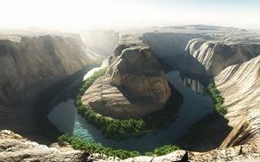 река, Колорадо, каньон, скалистость, кусты, зелень, солнце, тень